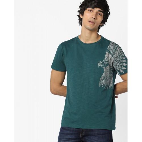 AJIO Placement Print Crew-Neck T-shirt