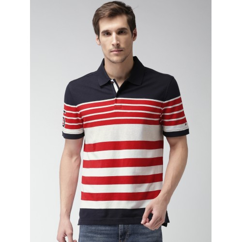 7b00a25a Buy Tommy Hilfiger Men Navy & Red Striped Polo T-shirt online ...