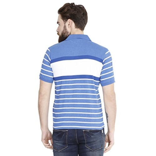 cb815c2e0 Fanideaz Men s Half Sleeve Cotton Denim Blue Striped Polo T Shirt with  Branded Logo Embroidery ...