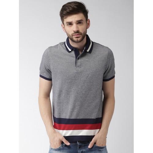 c9afa2ea Buy Tommy Hilfiger Men Blue Self Design Polo T-shirt online ...
