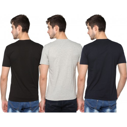 Shaun Printed Men's Round Neck Grey, Black, Dark Blue T-Shirt