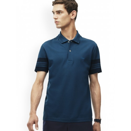 f3767f17d5651c Buy Lacoste Men Blue Slim Fit Striped Sleeves Polo online
