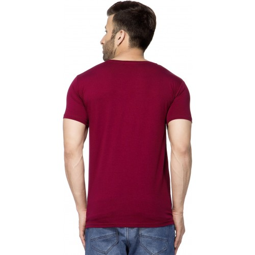 b3bc6a050 Buy Tinted Solid Men's V-neck Maroon T-Shirt online | Looksgud.in