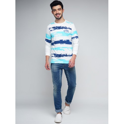 767200c879 ... Difference of Opinion Men White & Blue Striped Round Neck T-shirt ...
