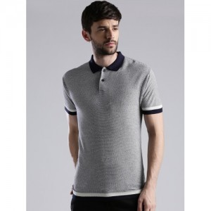 Levis Men Grey Self-Design Polo Collar T-shirt