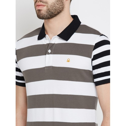 United Colors of Benetton Men White & Grey Striped Polo Collar T-shirt
