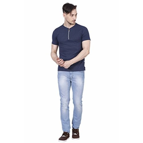 5a44c569b1e Buy Fanideaz Denim Blue Men s Cotton Zip Henley Premium T Shirt for ...