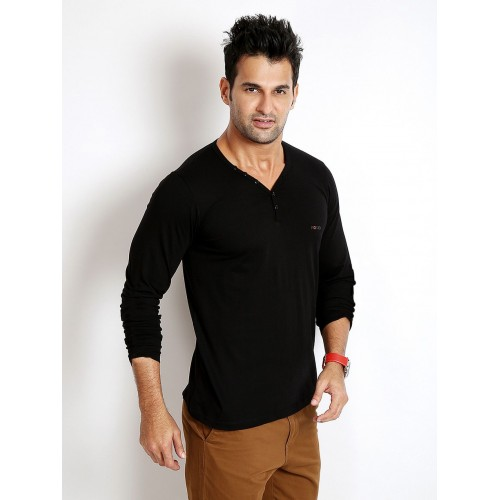 Rodid Solid Men's V-neck Black T-Shirt