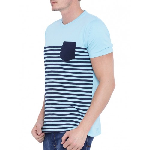 Buy Difference of Opinion Ice Blue Cotton Striped T-shirt online ... b36d6f17a