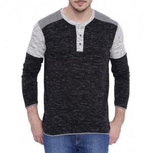 Campus Sutra Black Cotton Melange T-shirt