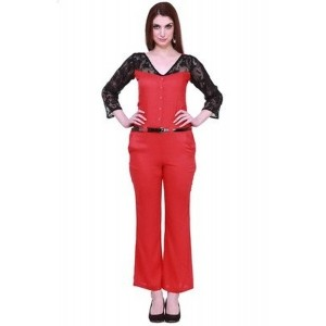 Cottinfab Women's Red Full Length Jumpsuit