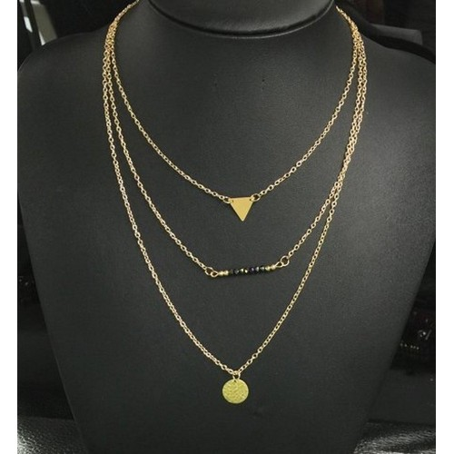 Accessorisingg 3 Layer Chain with Black Beads for Women