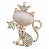 Taj Pearl Golden Alloy Brooch