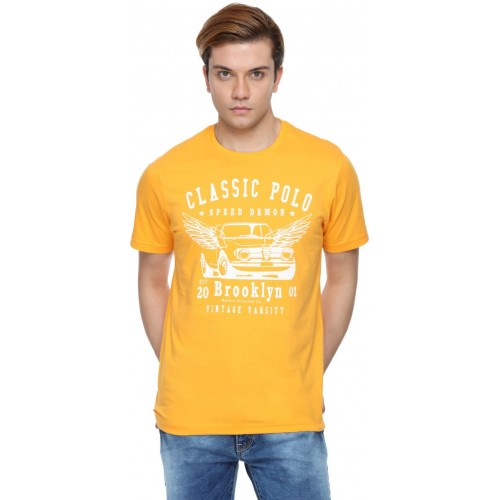 340f5cd3 Buy Classic Polo Printed Men's Round Neck Yellow T-Shirt online ...