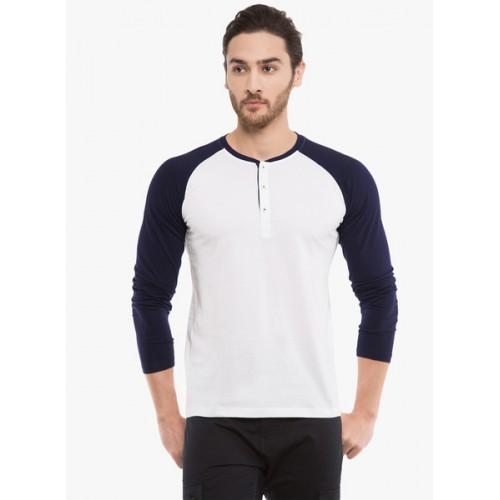 d071ba1014e4f Buy Highlander Solid Men s Henley White T-Shirt online