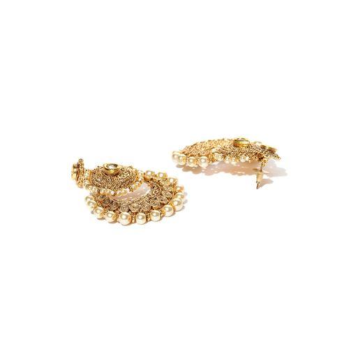 PANASH Gold-toned Beads Metal Chandbali Earring