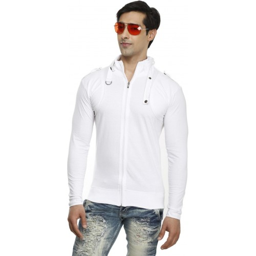 Tees Collection Solid Men's Turtle Neck White T-Shirt