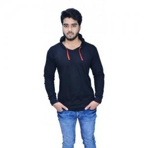 Himgiri International Solid Men's Hooded Black T-Shirt