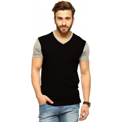 ... Tripr Solid Men's V-neck Multicolor, Black, Grey T-Shirt ...