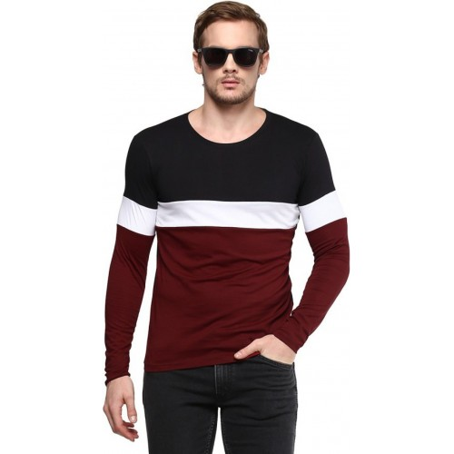 99090333a72 Buy Urbano Fashion Striped Men Round Neck Black, White, Maroon T ...