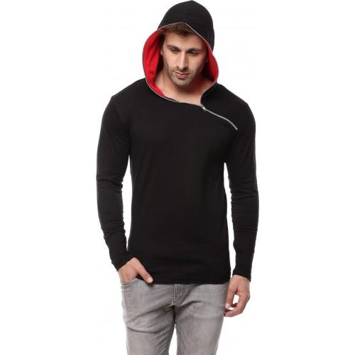 Gritstones Solid Men's Hooded Black, Red T-Shirt