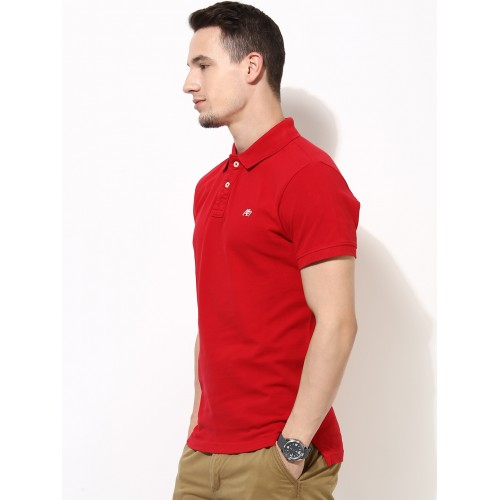 Aeropostale Red Solid Regular Fit Polo T-Shirt
