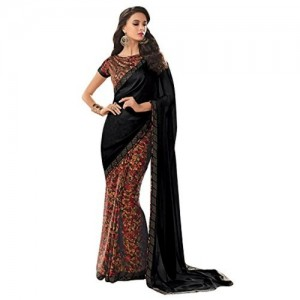 Vishal Prints Black Floral Print Satin Saree With Stone Work Border