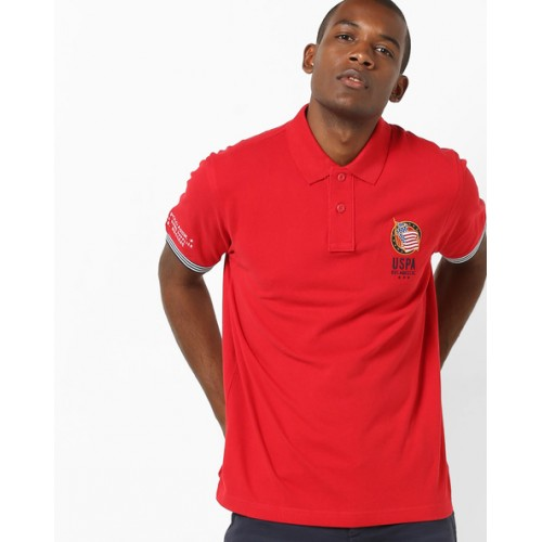 ef93e77a Buy U.S. Polo Assn. Red Solid Slim Fit Polo T-Shirt online | Looksgud.in