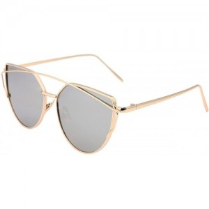 U.S. CROWN Silver Metal Cat-Eye Mirror Sunglasses