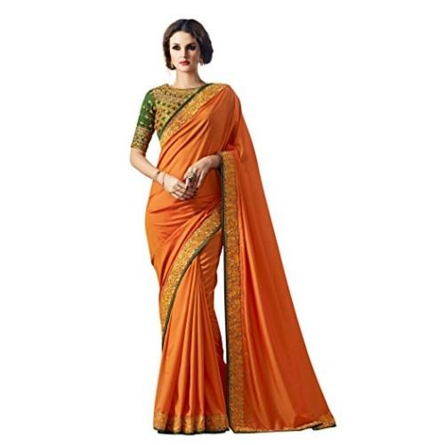 21fad1a837769 Buy Vritikamesmer Orange Colour Paper Silk Saree with blouse ...
