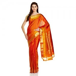 IndusDiva Orange Kanjeevaram Pure Silk Handloom Saree