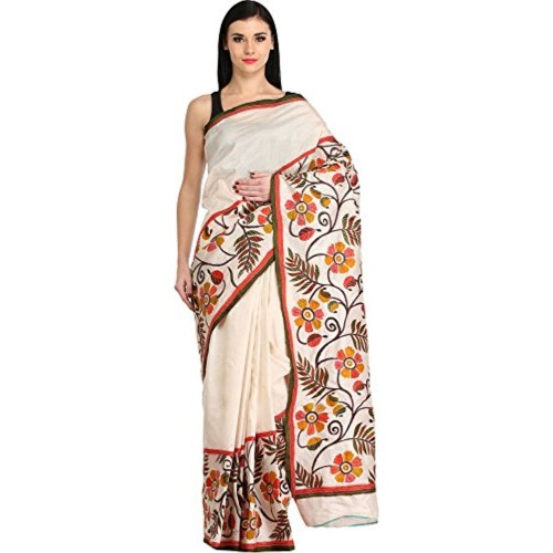 Exotic India Ivory Saree from Kolkata with Foliage Print and Kantha - Off-White