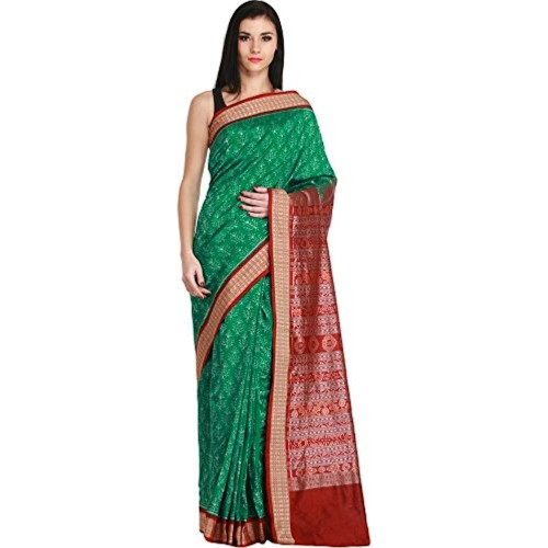 Exotic India Green and Maroon Sambhalpuri Handloom Saree from Orissa wit - Green