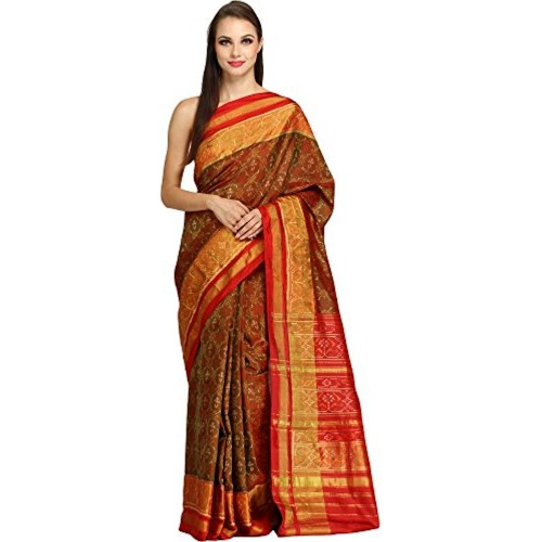 Exotic India Pure Silk - Weaver Lavjibhai Saree (Sdj96-Ca_Green)