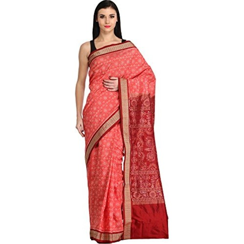 Exotic India Spiced-Coral and Maroon Sambhalpuri Handloom Saree from Oris - Pink