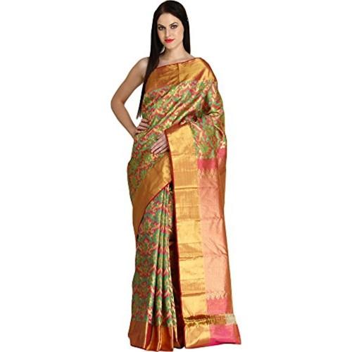Exotic India Pure Silk Saree (Sdj81-Ca_Pink)