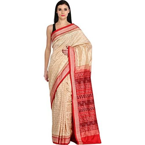 Exotic India Pure Silk - Weaver Shambhu Saree (Sdk01-Ca_Off-White)