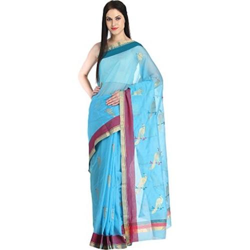 Exotic India Pure Cotton-Silk Saree (Sdj94-Ca_Blue)