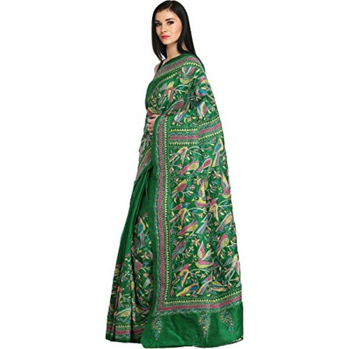 Exotic India Kelly-Green Kantha Saree from Kolkata with Hand-Embroidered - Green