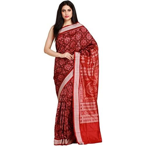 Exotic India Pure Silk - Weaver Shambhu Saree (Sdi74-Ca_Red)