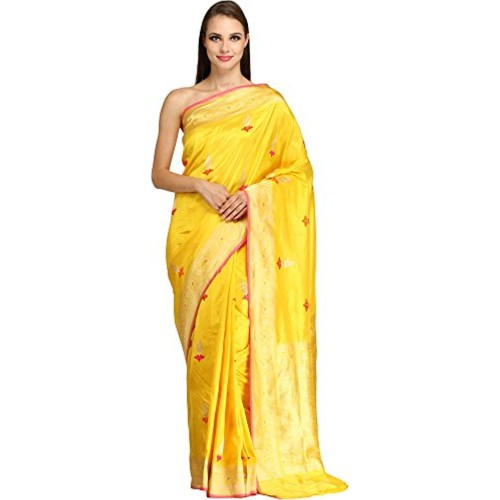 Exotic India Pure Silk - Weaver Ansar Ali Saree (Sdi72-Ca_Yellow)