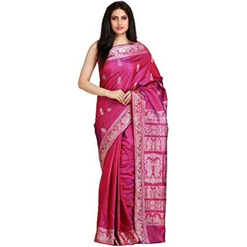 Exotic India Pure Silk Saree (Sdh97-Ca_Purple)