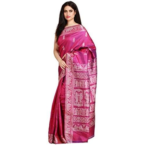 Exotic India Pure Silk Saree (Sdh97-Ca_Purple)