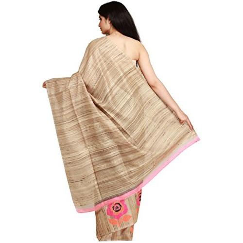 Exotic India Pure Silk With Jute - Weaver Kasim Family, Banaras Saree (Sdh94-Ca_Black)