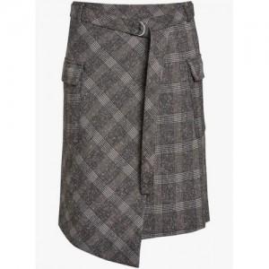 Next Gray Check Wrap Midi Skirt