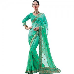 Vishal Georgette Saree (Vs1702_Rama)