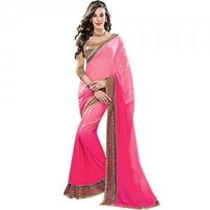 Vishal Prints Dark Peach Gerogette Saree With Stone Work Border