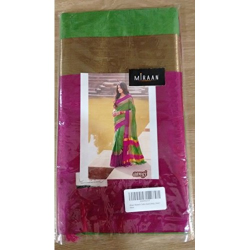 Miraan Women's Cotton Saree With Blouse Piece