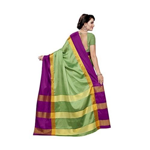 Vatsla Enterprise Women's Cotton Saree With Blouse Piece (Vscdnpyshorange003_Green)