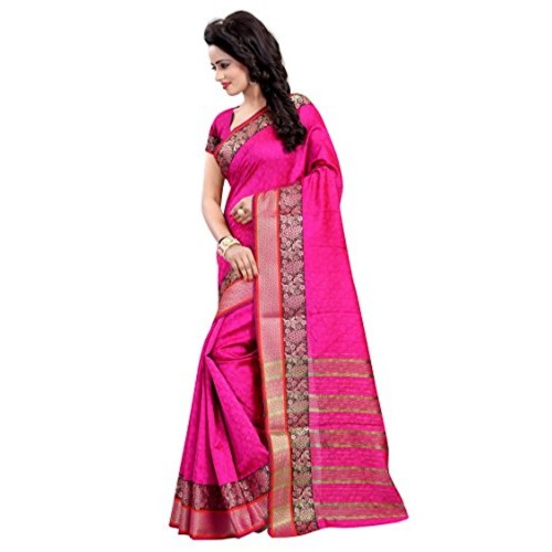 Vatsla Enterprise Women's Cotton silk Saree (VKAABI004PINK_PINK)